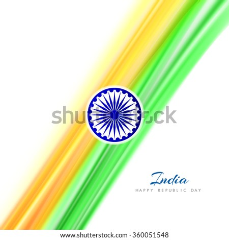 Beautiful wave pattern shiny Indian tricolor flag design. - stock vector