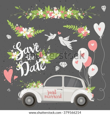 Beautiful wedding clipart set with retro car, flowers, balloons, doves and hearts. Save the date lettering. Vector illustration. - stock vector