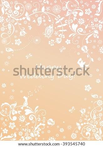 Beautiful wedding floral card - stock vector