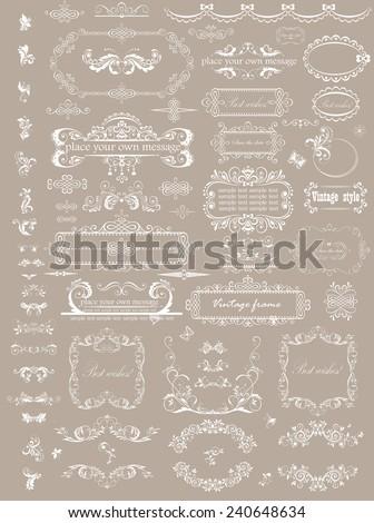 Beautiful wedding headers - stock vector