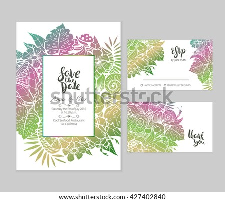 Beautiful wedding set with summer floral illustration and hand lettered phrases. Bright gradient text templates for creative wedding prints. - stock vector