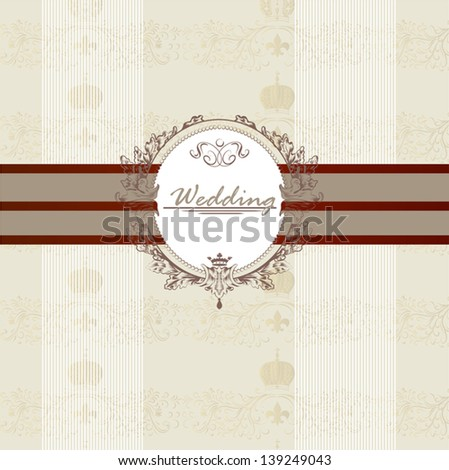 Beautiful wedding vector invitation card in elegant style