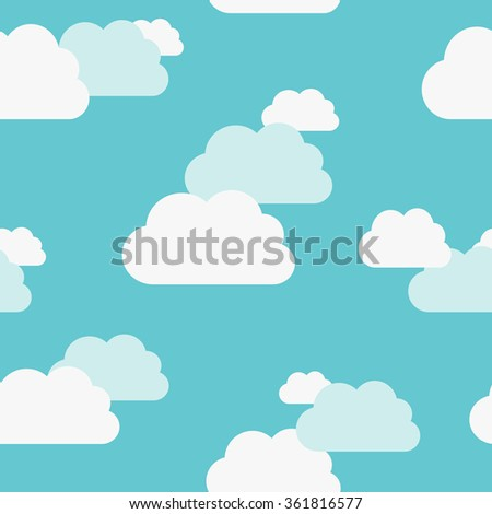Beautiful white and bluish clouds on light turquoise blue sky seamless pattern. EPS 8 vector illustration, no transparency