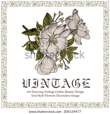 Beautiful white baroque flowers. Vintage greeting card with blooming flowers. Invitation. Frame. Drawing, engraving. Freehand. Brier, dog-rose, rosehip. Flora. Vector victorian style Illustration.