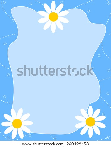 Beautiful white daisies on blue background spring border / frame - stock vector