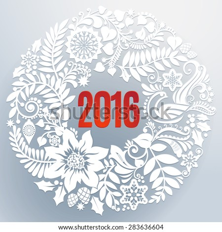 Beautiful white floral lace like paper cut wreath with red 2016 in the middle creates a three-dimensional elegant design. Seasons greetings concept. Illustration. - stock vector