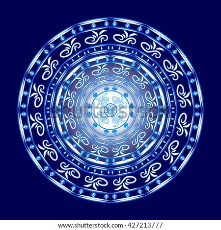 Beautiful white mandala on blue background , design element with oriental motifs. Vector.