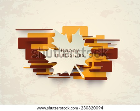 Beautiful white paper maple leaf on colourful yellow and brown background on beige background for Happy Thanksgiving Day celebrations. - stock vector