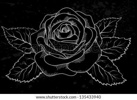 beautiful white rose outline with gray spots on a black background. Many similarities to the author's profile - stock vector