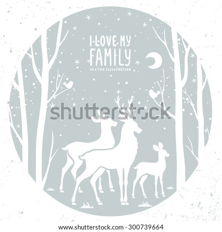 Beautiful white silhouette deer and trees in circle frame. Vector illustration