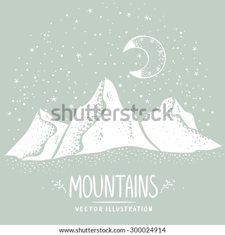 Beautiful white silhouette mountains at night. Stylish vector illustration - stock vector