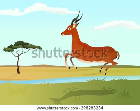 Beautiful wild african animal illustration. Antelope impala jumping on the grass with african savannah and tree on background. Vector Illustration.  - stock vector