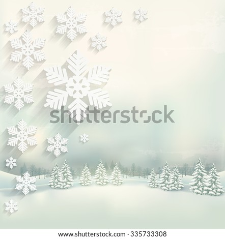 Beautiful winter background with a landscape and a snowflake design. Vector. - stock vector