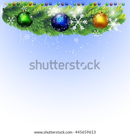 Beautiful Winter Background with Pine Branches and Christmas Decorations and Snowflakes. 3D Illustration Vector