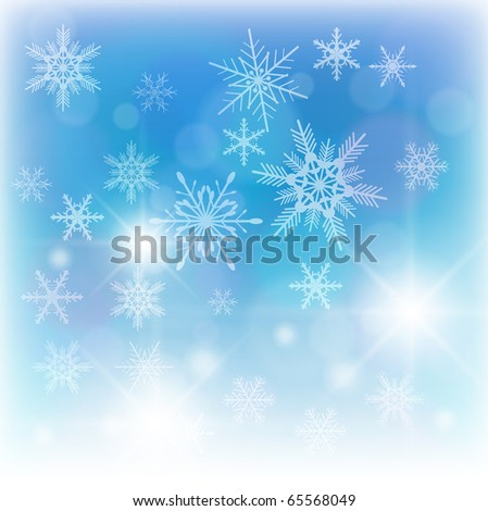Beautiful winter background with snowflakes, vector. - stock vector