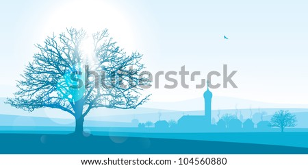 beautiful winter landscape illustration of a silhouetted village with a large tree in the foreground. - stock vector
