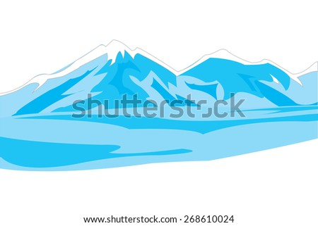 Beautiful winter landscape with mountain on white background - stock vector