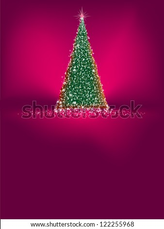 Beautiful winter template card with tree and snowflakes. EPS 8 vector file included - stock vector