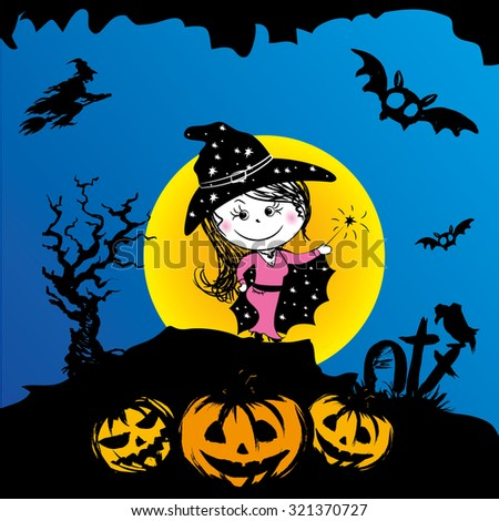 Beautiful witch.Halloween, scary background,vector illustration