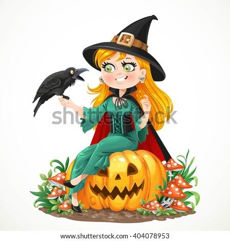 Beautiful witch sitting on a pumpkin and talks to the black raven isolated on white background