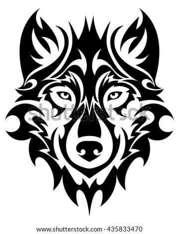 Beautiful wolf tattoo. Vector wolf's head as a design element on isolated background