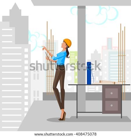 Beautiful woman architect planning building. Vector illustration - stock vector
