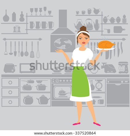 Beautiful woman chef in the kitchen. Vector illustration - stock vector