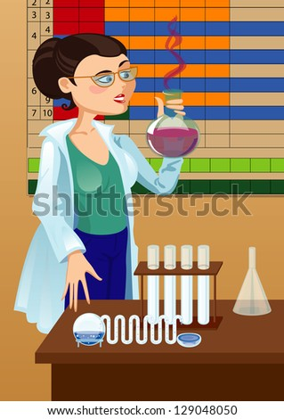 Beautiful woman chemist, glass bulb in hand on the background of the periodic table - stock vector