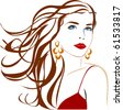 Beautiful woman close-up. Vector silhouette. - stock photo