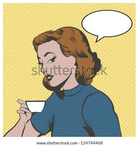 Beautiful Woman Drinking coffee or tea - stock vector