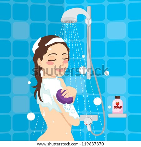 Beautiful woman enjoying soothing shower relaxation time - stock vector