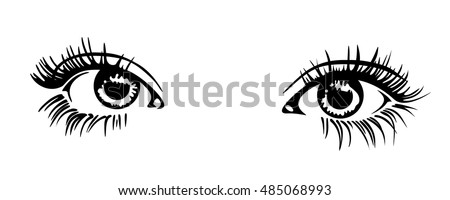 Beautiful woman eye. Vector illustration. Ink drawing. Black and white.