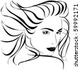 Beautiful woman face close-up. Vector silhouette. - stock vector