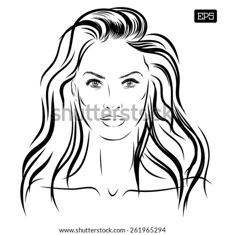 beautiful woman face hand drawn vector illustration eps 10