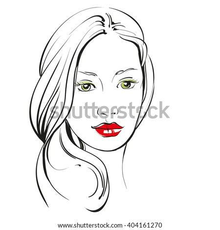 beautiful woman face hand drawn vector llustration sketch - stock vector