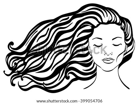 Beautiful Woman Face In Front With Long Wavy Hair Girl Line Drawings