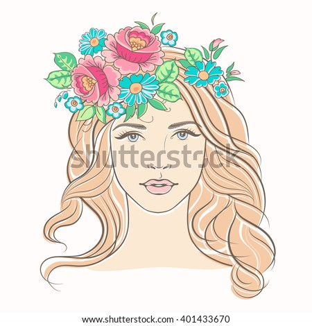 Beautiful woman face. Portrait of a young blond woman. Fashion girl with flowers.  Pretty girl with wreath of flowers in her hair. - stock vector
