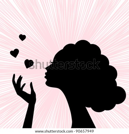 beautiful woman face silhouette with heart kiss - stock vector