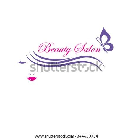 Beautiful woman face vector logo template for  beauty or hair salon, cosmetic procedures, spa center. - stock vector