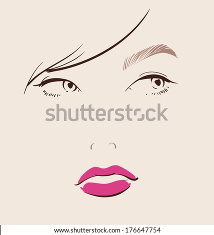 beautiful woman faces with red lips make up close-up illustration eps 10 - stock vector