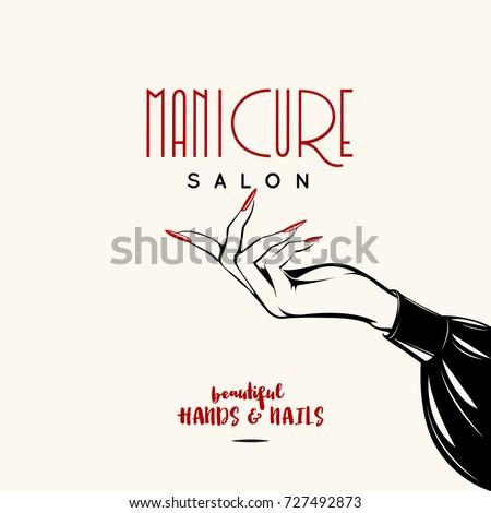 Beautiful Woman Hand With Elegant ManicureNails Salon Vector Illustration