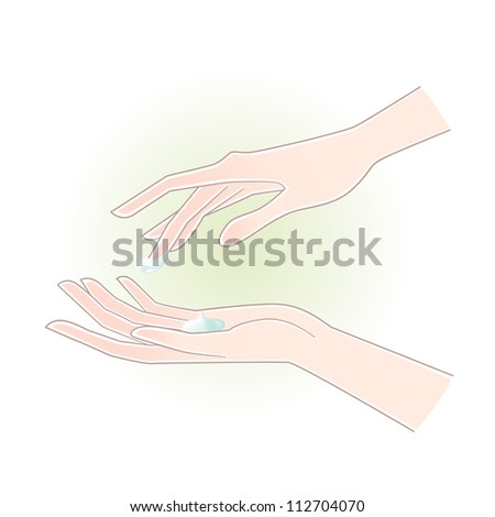 Beautiful woman hands with care cream on the palm. Clipping mask is used. - stock vector