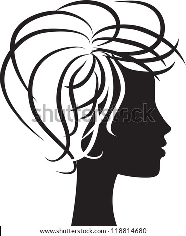 beautiful woman head profile silhouette