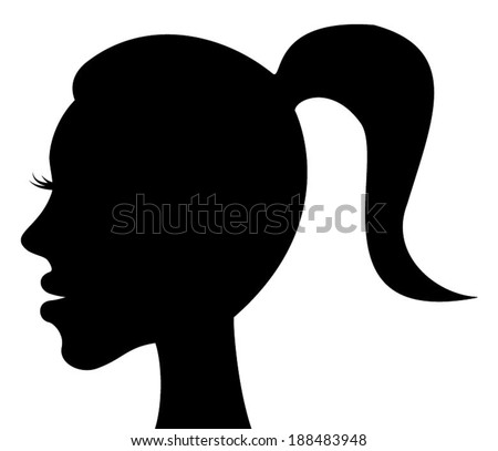 Beautiful woman head profile silhouette with ponytail. vector art image illustration, beauty young girl face portrait with tied tail. black and white design, isolated on white background - stock vector