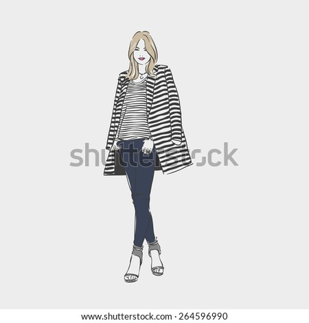 Beautiful woman in a striped coat and jeans. Vector  hand drawn illustration.  - stock vector
