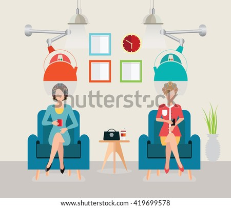Beautiful woman in beauty salon with hair curl rollers, Modern equipment by hairdresser, Hairstyle vector illustration. - stock vector