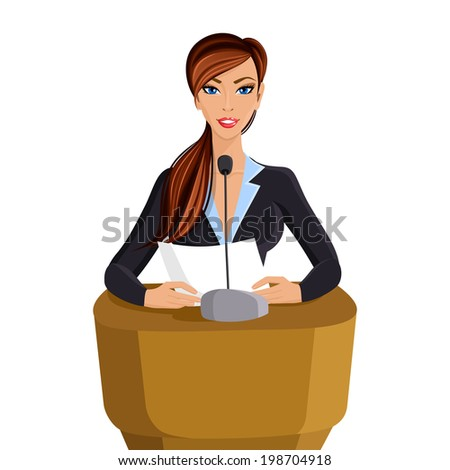 Beautiful woman in business suit with paper conference portrait isolated on white background vector illustration - stock vector