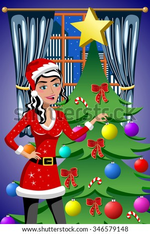 Beautiful woman in xmas dress decorating christmas tree putting on xmas balls - stock vector