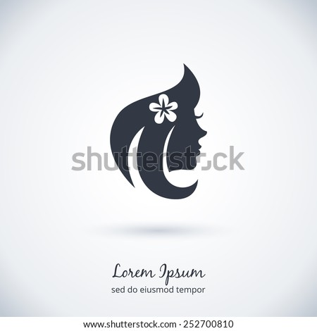 Beautiful woman Logo for beauty salon, spa salon, firm or company. Vector illustration - stock vector