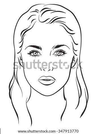 Beautiful woman portrait. Face chart Makeup Artist Blank Template. Vector illustration. - stock vector